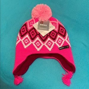 NWT H /& M Pink Stripe fleece lined PINK Stripe POMPOM HAT 6-12 mo OR 1-2 yrs
